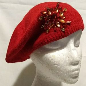 Red Hat Ladies Red Hat beret with jewels